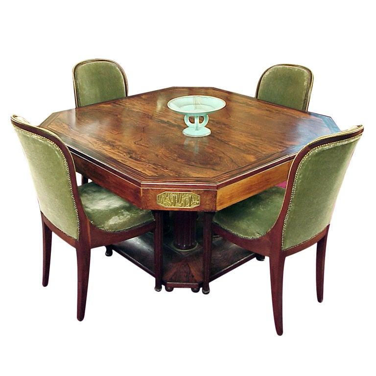 French Art Deco RosewoodMacassar Dining Set Maison