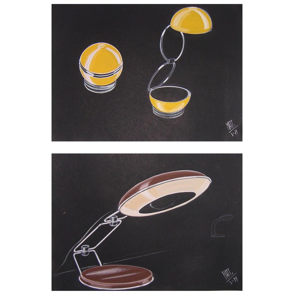1979 Luciano Mattioli 2 Italian Design Drawings for a Modern Desk Light Project