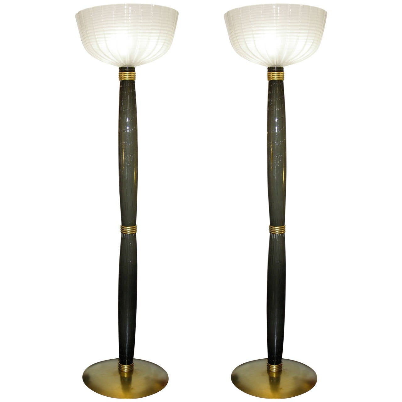 Extremely rare pair of barovier e toso olive grey murano for Olive wood floor lamp