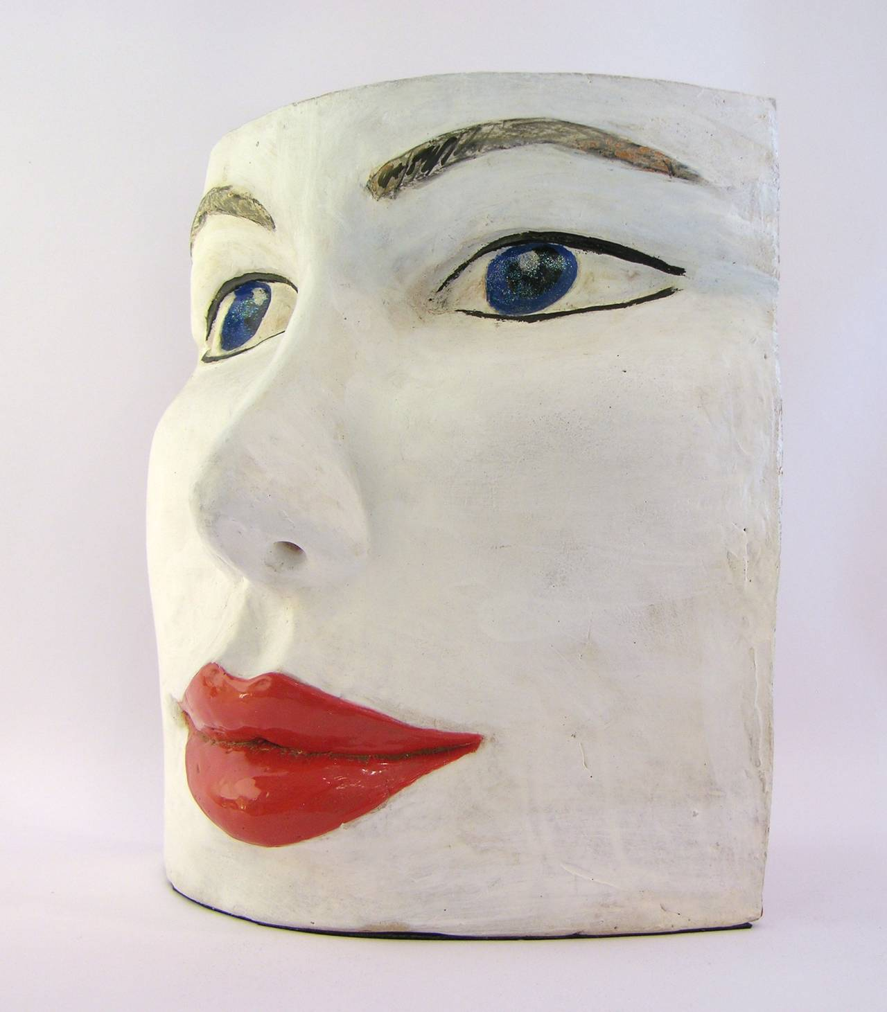 Blue Eyes Face Terra Cotta Sculpture by Ginestroni 3