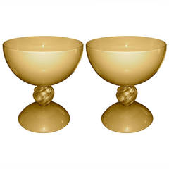 Alberto Dona Exceptional Italian Pair of Monumental Gold Ivory Blown Glass Bowls
