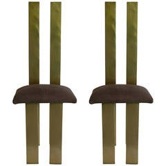 Sandro Petti 1970s Remarkable Italian Minimalist Pair of Sculptural Chairs