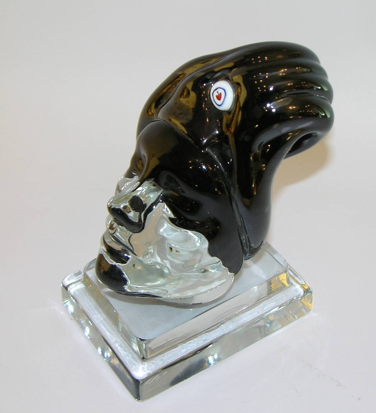 Modern Italian Blown Murano Glass Head Sculpture For Sale