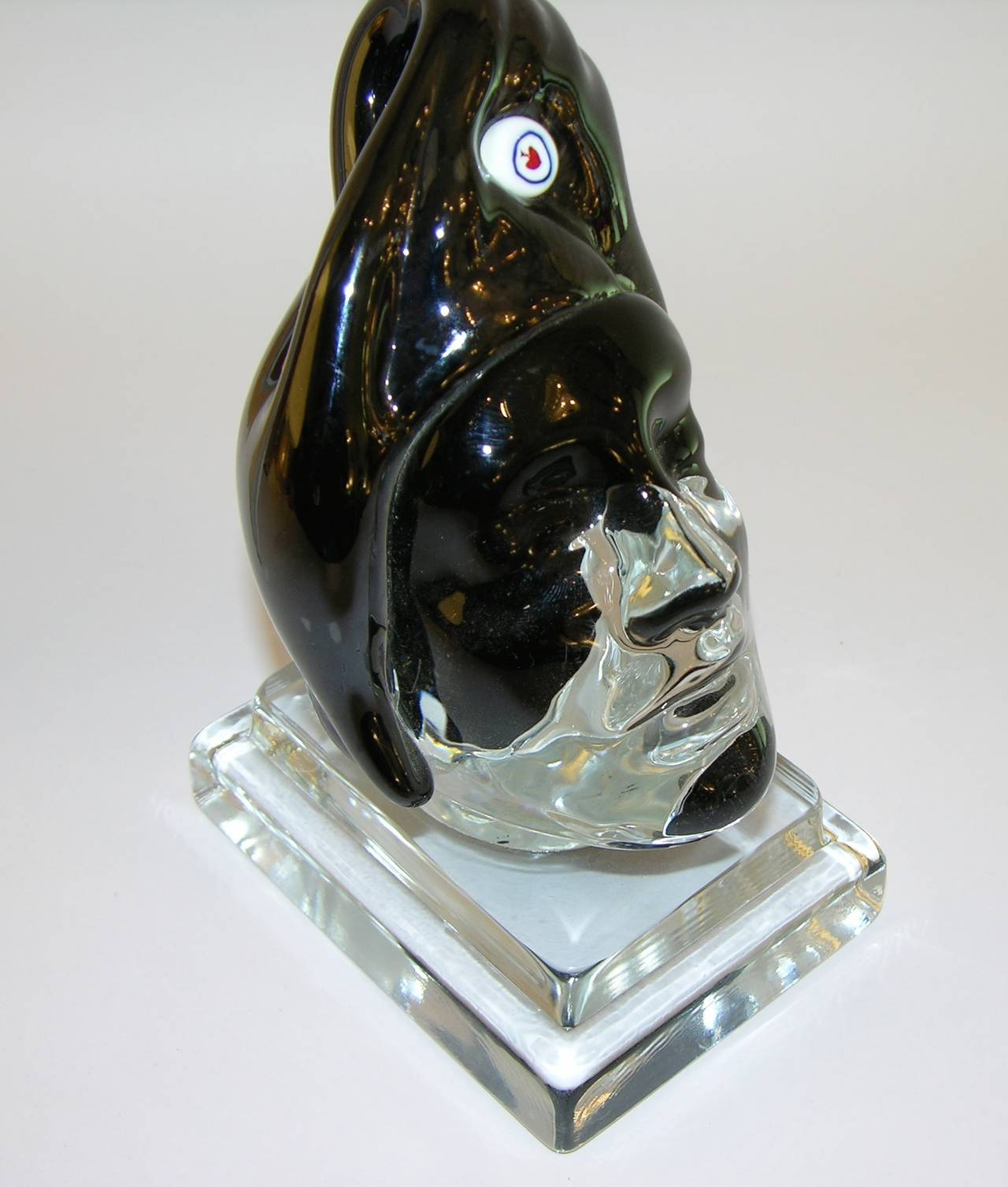 Late 20th Century Italian Blown Murano Glass Head Sculpture For Sale