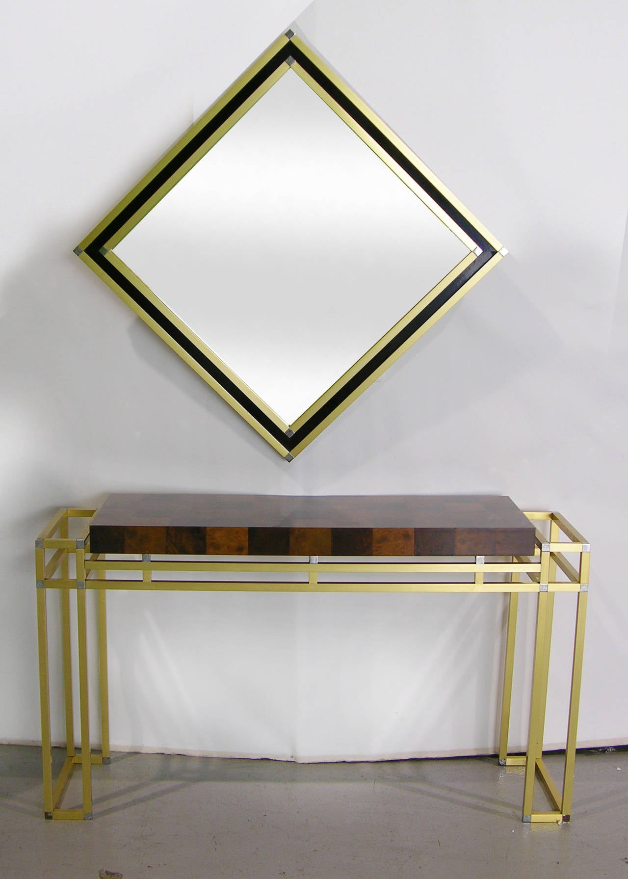 Late 20th Century Mario Sabot Italian 1970s Modern Brass and Black Square Mirror For Sale