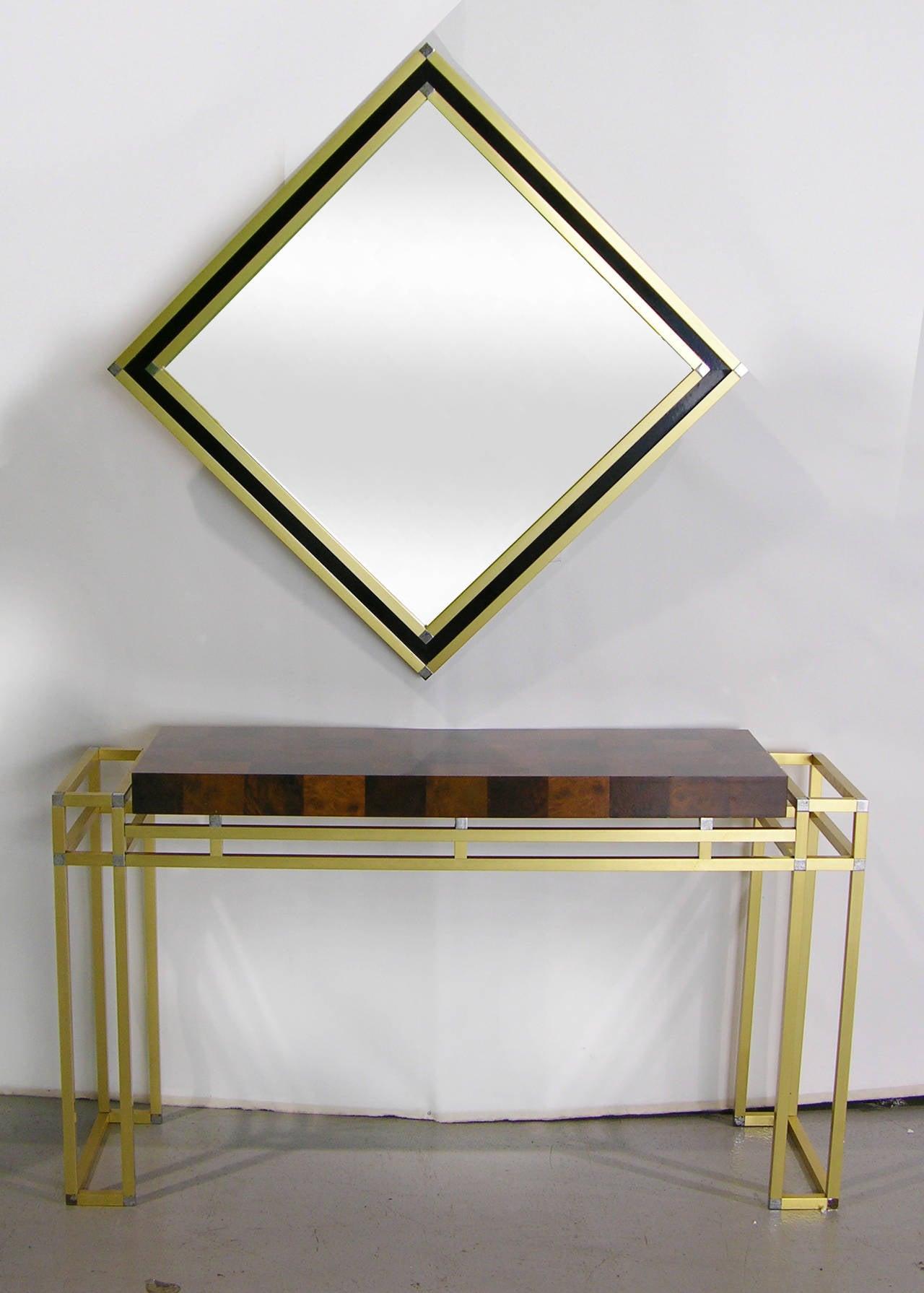 Mario Sabot Italian 1970s Modern Brass and Black Square Mirror 5