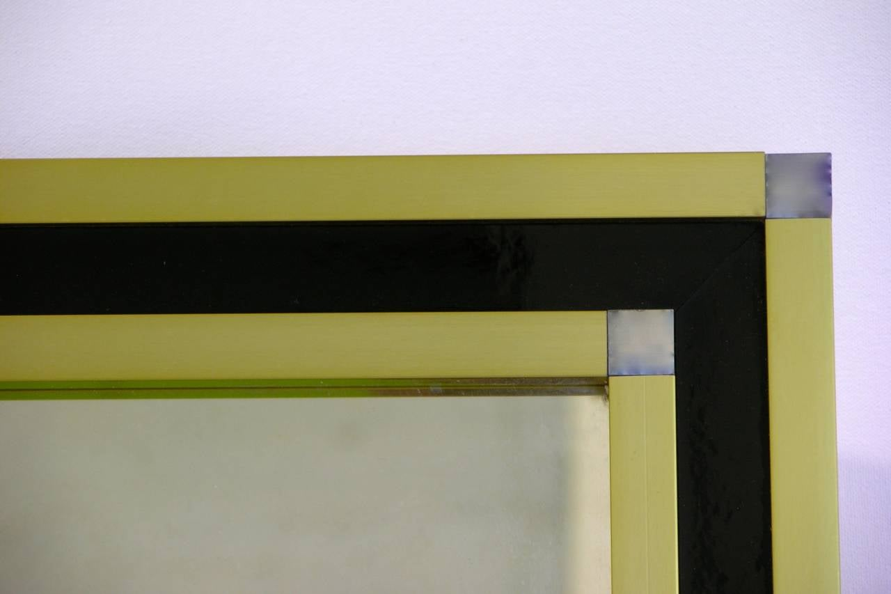 Hand-Crafted Mario Sabot Italian 1970s Modern Brass and Black Square Mirror For Sale