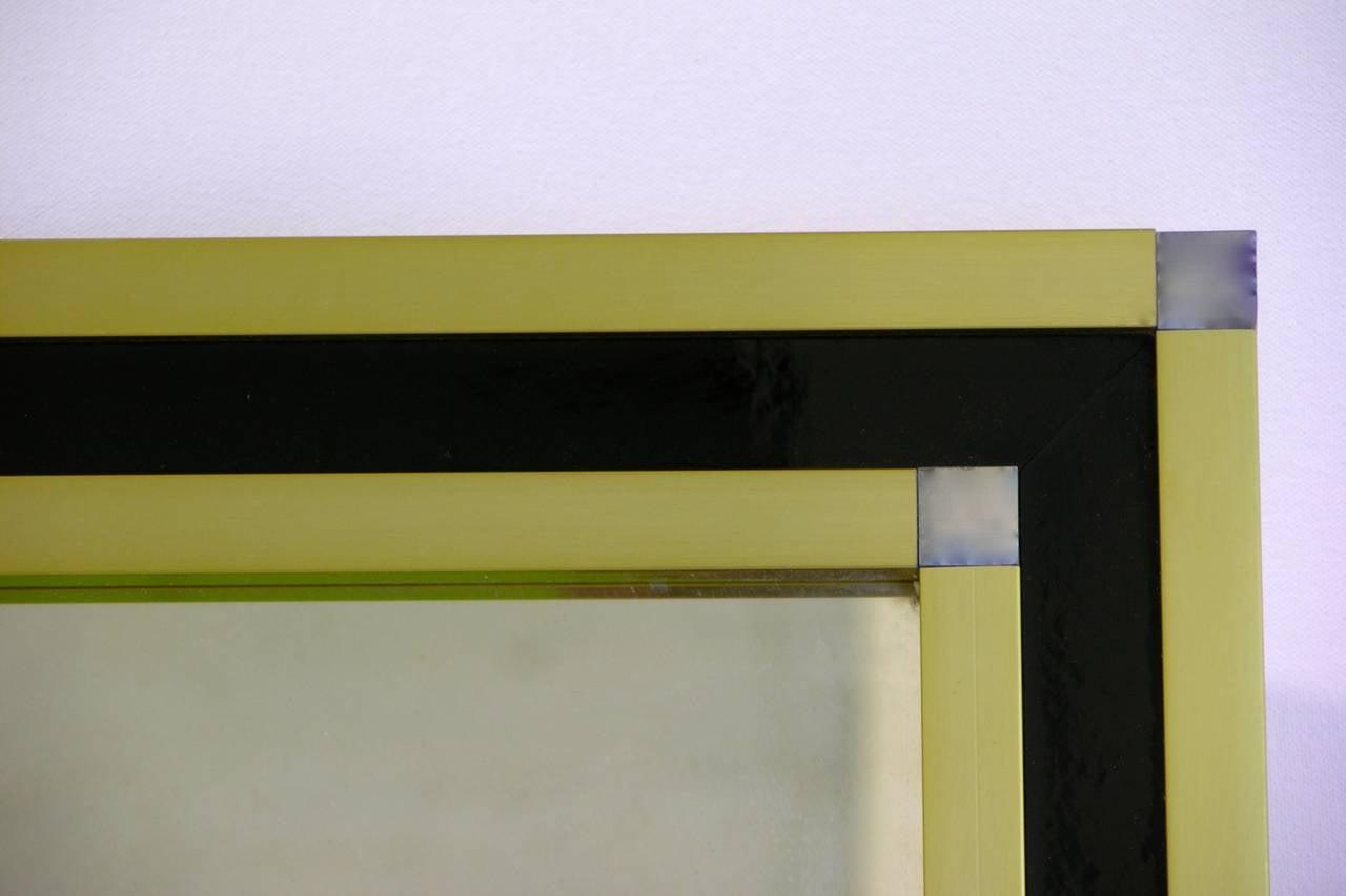 Mario Sabot Italian 1970s Modern Brass and Black Square Mirror 3