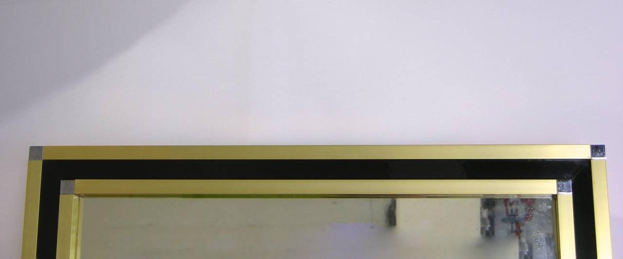 Mario Sabot Italian 1970s Modern Brass and Black Square Mirror 4