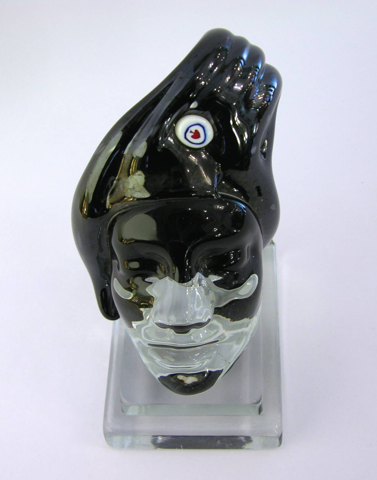 Italian Blown Murano Glass Head Sculpture 7