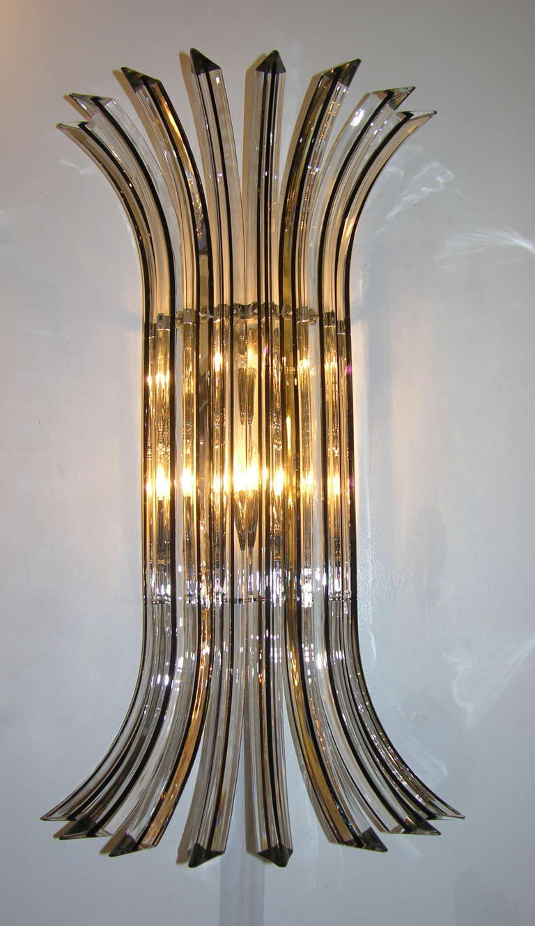 Contemporary Italian Wall Lights : Italian Pair of Contemporary Clear Murano Glass Wall Lights with Black Insets For Sale at 1stdibs