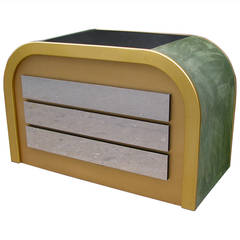 Romeo Rega 1970s Brass and Chrome Curved Chest with Green Velvet Sides