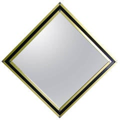 Mario Sabot Italian 1970s Modern Brass and Black Square Mirror