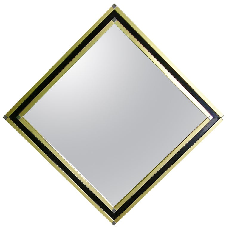 Mario Sabot Minimalist Italian Modern Brass and Black Square Mirror, 1970s For Sale