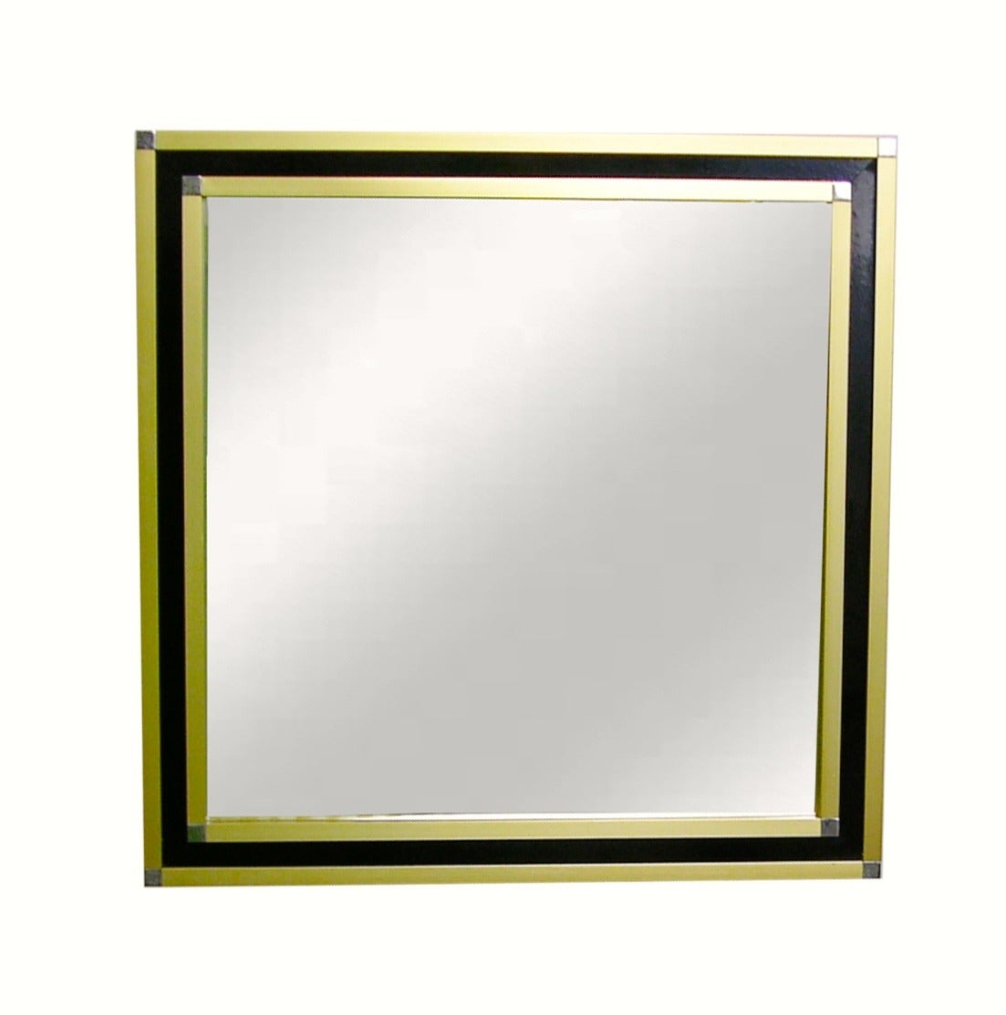 Mario sabot italian 1970s modern brass and black square for Square mirror