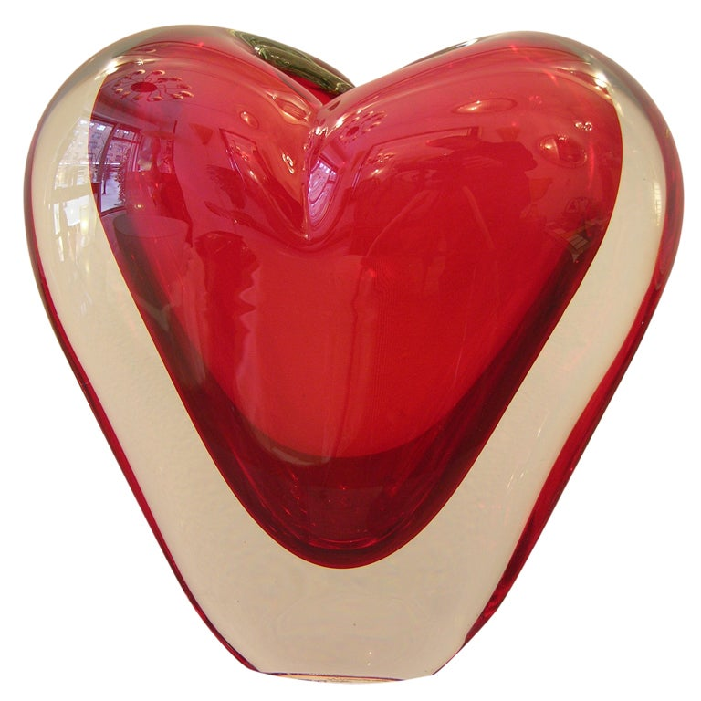 Vintage Murano Heart-Shaped Vase By Colizza