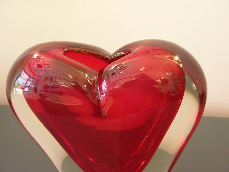 Vintage Murano Heart-Shaped Vase By Colizza  9