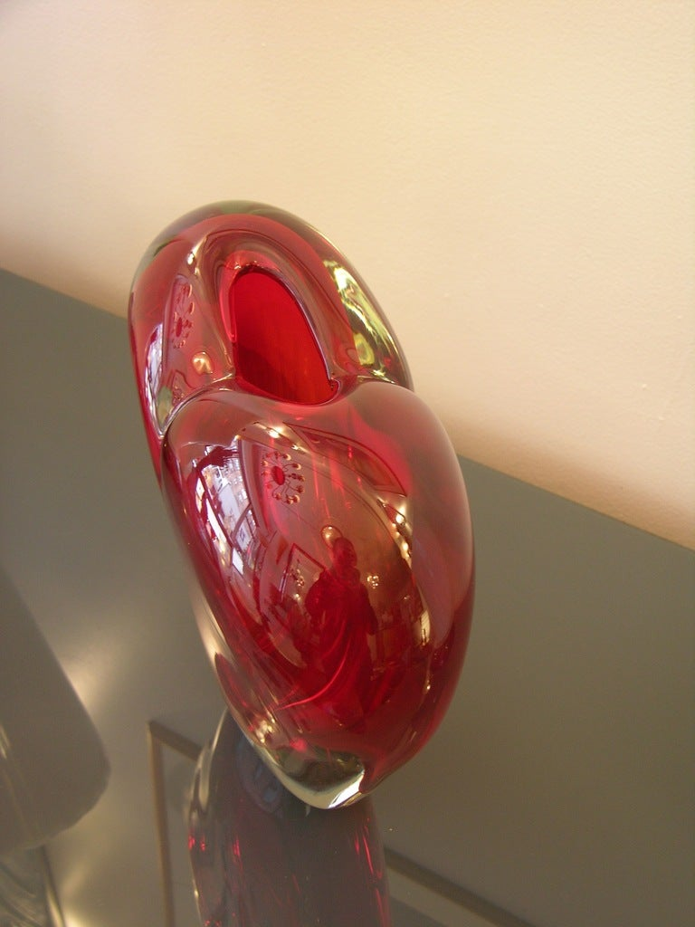 Vintage Murano Heart-Shaped Vase By Colizza  3
