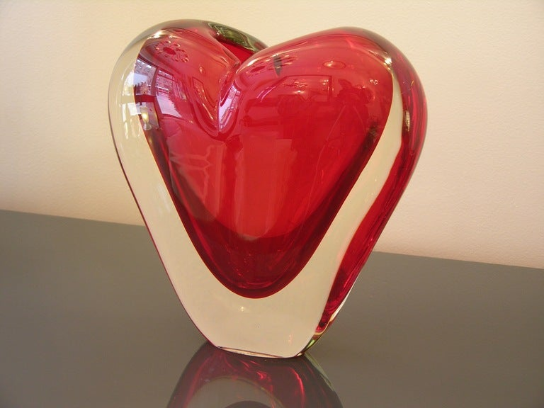 Vintage Murano Heart-Shaped Vase By Colizza  8