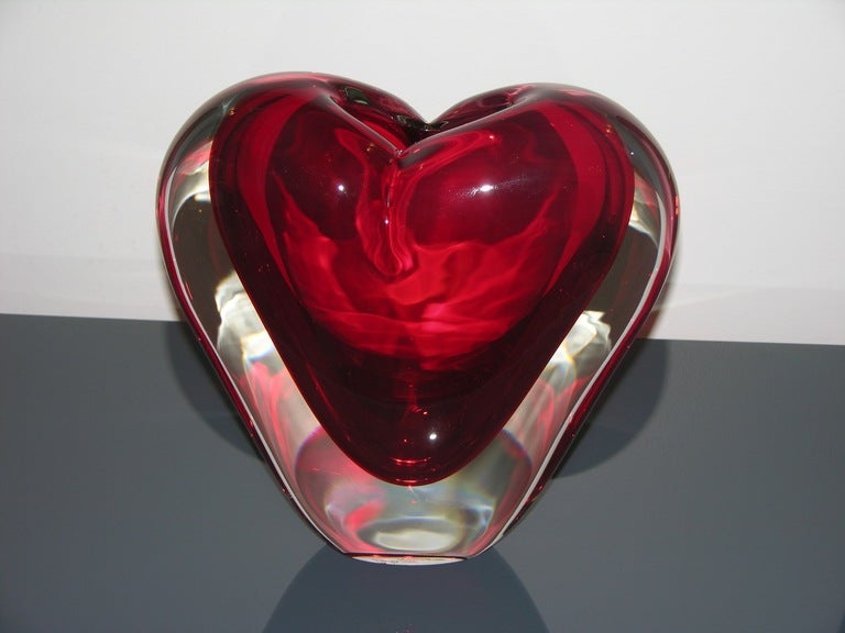 Vintage Murano Heart-Shaped Vase By Colizza  4