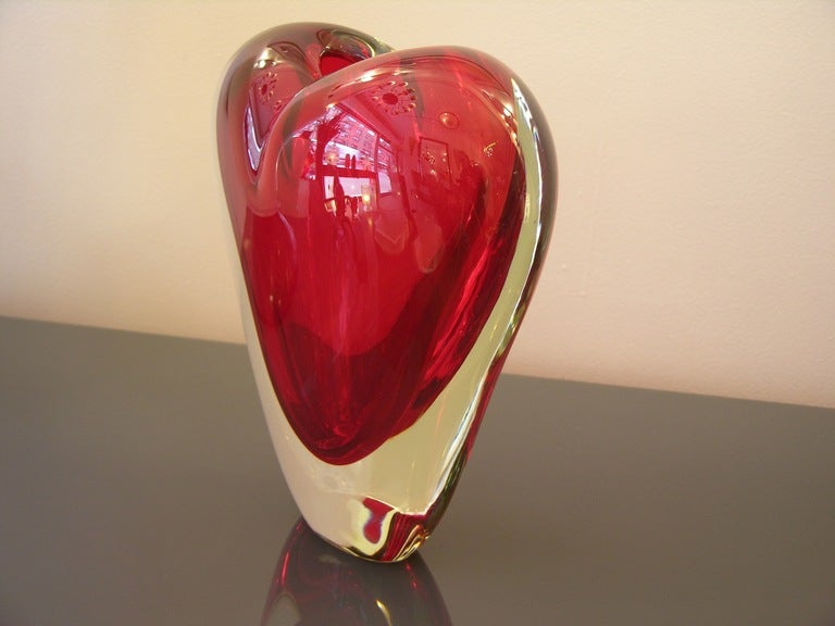 Vintage Murano Heart Shaped Vase By Colizza At 1stdibs