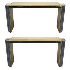 1970s Pair of Alain Delon for Maison Jansen Console Tables