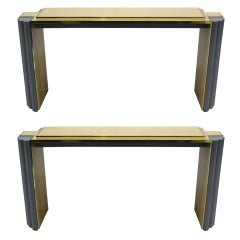 Alain Delon 1970s Pair of Gray and Cream Console Tables for Maison Jansen