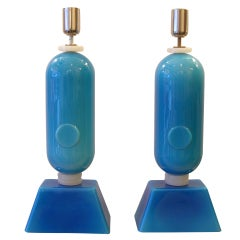 1970s Italian Pair of Unusual Blue GLass Lamps By Aureliano Toso