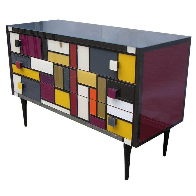 1980 Italian Glass Dresser In Mondrian Style At 1stdibs