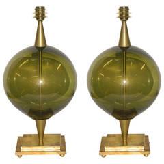1970s Rare Italian Pair of Murano Glass Globe Lamps on Bronze