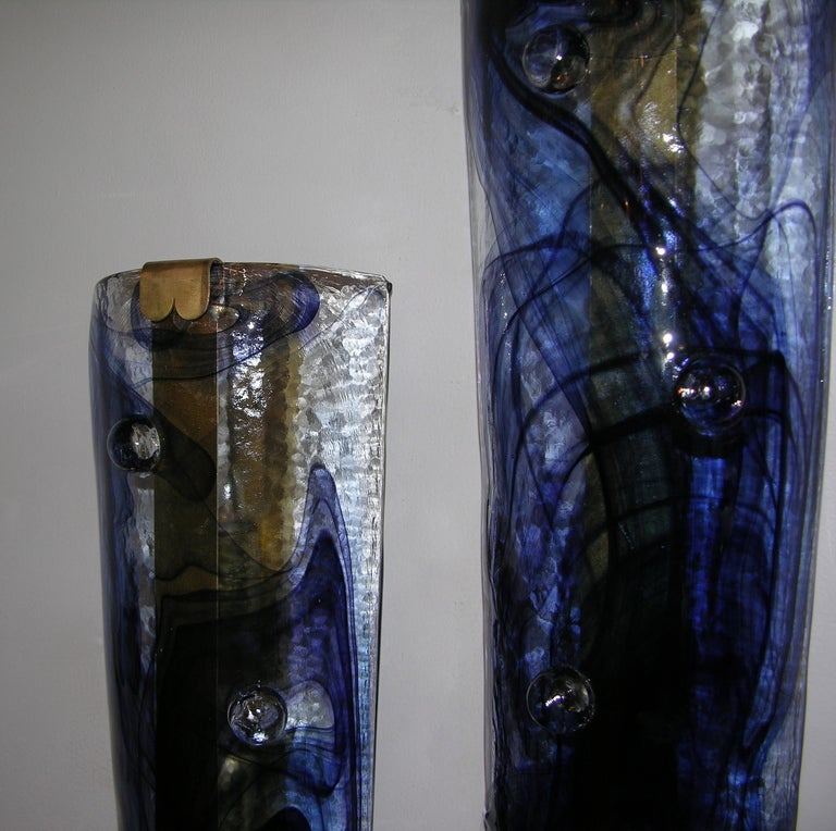 1970s Unusual Italian Pair of Blue Textured Glass Wall Lights at 1stdibs