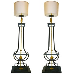 20th C. Oversized Pair Of Gilt-Iron Floor Lamps by Jacques Garcia
