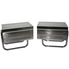 1970s Italian Design Rare Pair of Chrome and Brass Side Tables by Frigerio