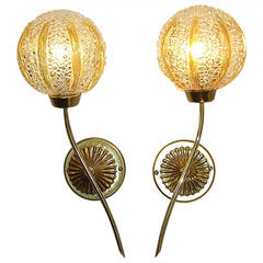 Barovier 1950s Delightful Pair of Textured Murano Glass Sconces