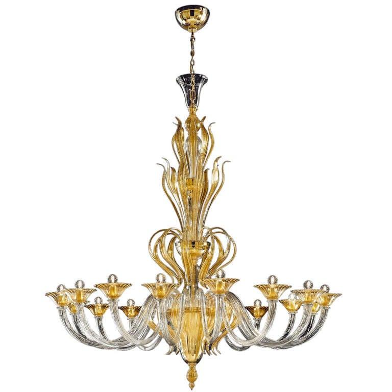 Superb Monumental Murano Glass 16 Light Chandelier Worked