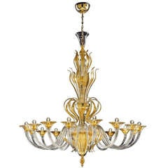 Monumental Murano Glass 16-Light Chandelier Worked with Pure Gold