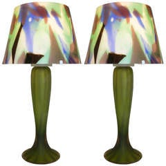 1950s Rare Pair of Green Glass Lamps by Vistosi with Murano Glass Shades