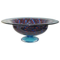 1960 Oversized Turquoise Center Bowl on Foot with Murrine by Vistosi