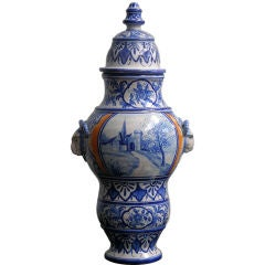 1920s French Malicorne Faience center piece with cover