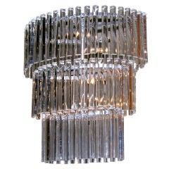 Salviati Vintage Minimalist Crystal Clear Murano Glass Oval Chandelier