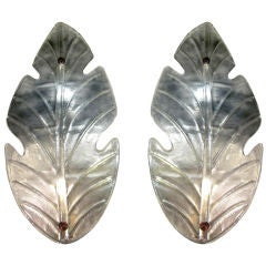 Barovier Toso Italian Pair of Huge Leaf-Shape Silver Murano Glass Sconces