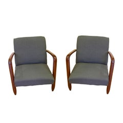 1960s Vintage Walnut Pair of Italian Modern Design Armchairs in Gray Blue Denim