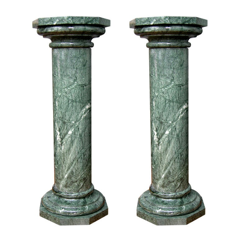 1940s Italian Pair Of Antique Hand Carved Columns In