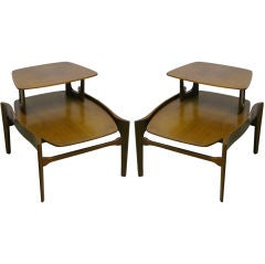 1950s pair of Bertha Schaefer two-tier end tables