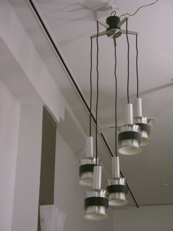1970s Modernist Chandelier With Cascading Pendant Lights