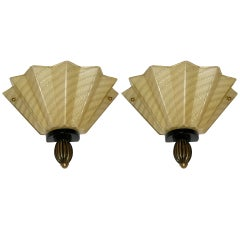 1950s Aureliano Toso Pair of Gold Fan-Shaped Murano Glass Sconces