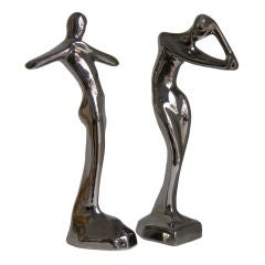 Contemporary Italian Stylized Ceramic Women Sculptures Covered in Platinum