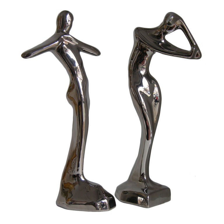 Contemporary Italian Stylized Ceramic Women Sculptures Covered in Platinum For Sale