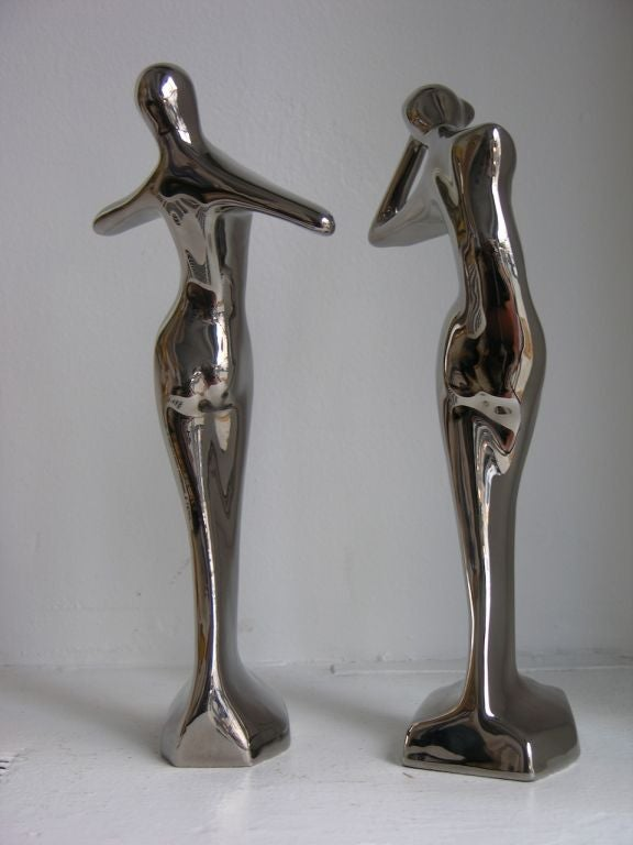 Modern Contemporary Italian Stylized Ceramic Women Sculptures Covered in Platinum For Sale
