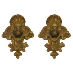 Italian Antique Pair of Rococo 18th Century Black & Gold Carved Wall Decorations